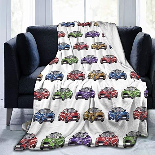 Manta mullida, colorida Speedy Sports Cars con diferentes ángulos dibujada a mano para vehículos rápidos, ultra suave, manta para dormitorio, cama, TV, manta para cama de 80 x 60 pulgadas