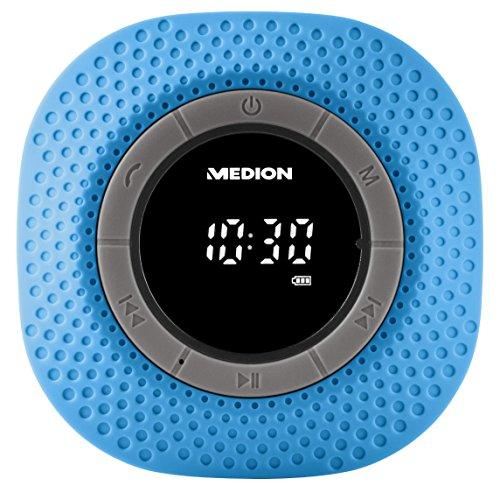MEDION E66554 Duschradio mit Bluetooth, 20 Watt, PLL UKW, IPX7, eingebauter Akku, blau