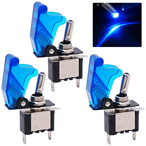 Twidec/3Pcs Rocker Toggle Switch 12V 20A Heavy Duty Racing Car Automative Auto SPST ON/Off Toggle Switch Blue LED Light Illuminated 3Pin with Blue Waterproof Safety Cover ASW-07DBUBUMZ