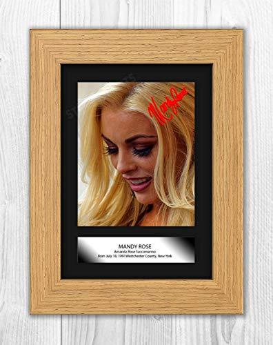 Engravia Digital Mandy Rose WWE Reproduction Autograph Poster Photo A4 Print(Oak Frame)