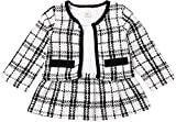 Toddler Kids Baby Girls Plaid Skirt Set Cardigan Jacket Coat + Tutu Dress Set Long Sleeve Outfits Fall Outfit Set (White,1-2 Years)