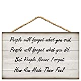 LINDAI People Will Forget What You Said Vintage Wood Plank Hanging Sign 8X12