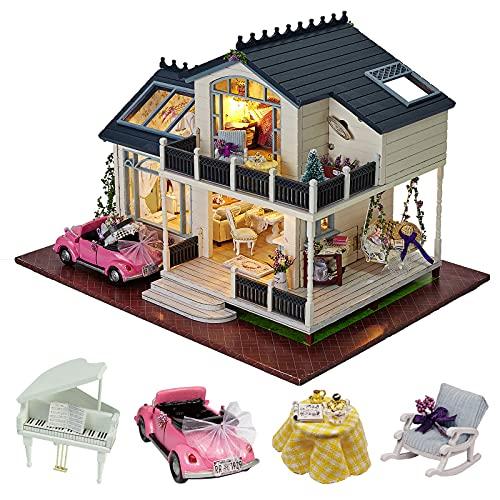 Kit de madera para montaje de casa de muñecas en miniatura, estilo provenzal, con muebles y caja de música con control de voz