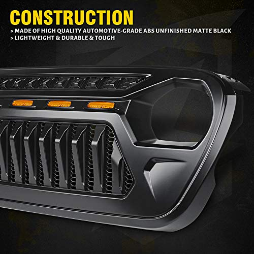 Xprite Black Gladiator Grille with Amber LED Running Lights for 2018-2020 Jeep Wrangler JL JT