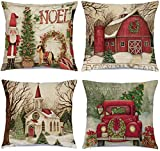 Hlonon Christmas Pillow Covers 18 x 18 Inches Set of 4 - Xmas Series Cushion Cover Case Pillow Custom Zippered Square Pillowcase (1 Christams)