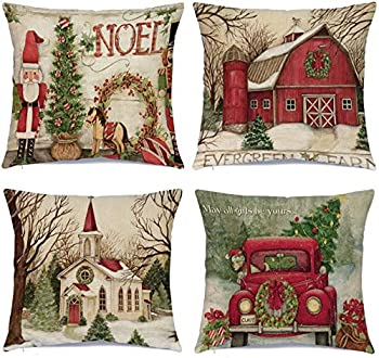 Hlonon Christmas Decorations Christmas Pillow Covers 18 x 18 Inches Set of 4 - Xmas Series Cushion Pillow Cover Custom Zippered Square Pillowcase