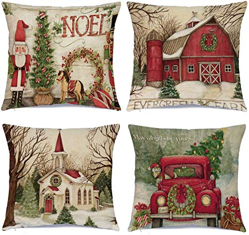Hlonon Christmas Decorations Christmas Pillow Covers 18 x 18 Inches Set of 4 - Xmas Series Cushion Cover Case Pillow Custom Zippered Square Pillowcase