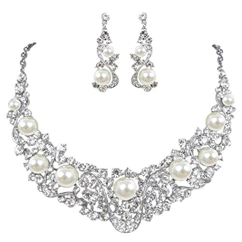 EVER FAITH Flower Ribbon Ivory Color Cream Simulated Pearl Austrian Crystal Necklace Earrings Set - Silver-Tone