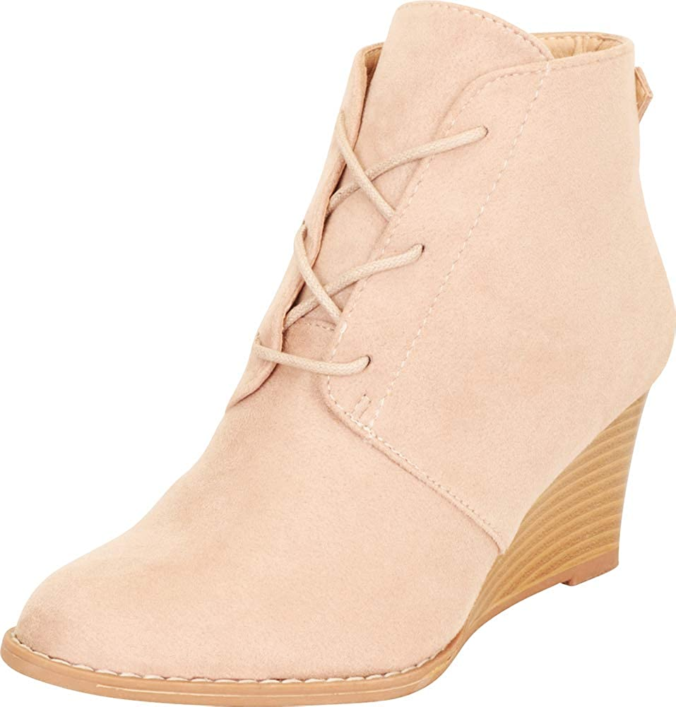 Cambridge Select Women's Almond Toe Mid Chunky オンラインショッピング H Stacked Lace-Up 日本限定
