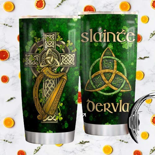 Personalized Irish Celtic Slainte Stainless Steel Tumbler Perfect Gifts For Celtic Lover Tumbler Cups For Coffee/Tea, Great Customized Gifts For Birthday Christmas Thanksgiving