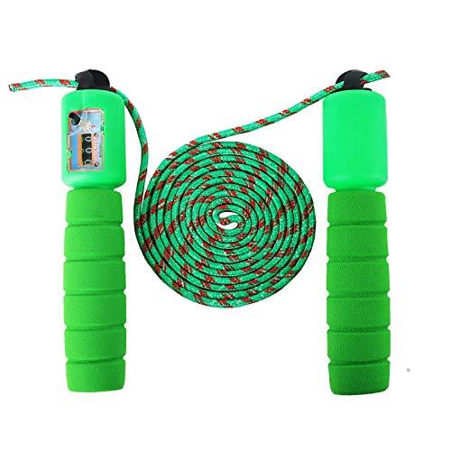 Sinwind Cuerda para Saltar Ajustable, Comba niños con Contador, Saltar la Cuerda de Boxeo y Mango de Espuma, Cuerda de Salto Sin Enredos de Velocidad, para Fitness Ejercicio (Green)