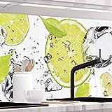 StickerProfis Küchenrückwand selbstklebend - LIMETTEN UND EIS - 1.5mm, Versteift, alle Untergründe, Hart PET Material, Premium 60 x 280cm