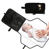 Cambiador Bebé Portátil Cojín del Pañal del Bebé Plegable Kit Cambiador de Viaje con Bolsillos de Almacenamiento para Fuera de Casa (Negro) -Duomishu
