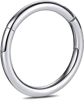 CIZME G23 Anello da Naso con Cerniera in Titanio Cerchio Clicker Segmento Senza Soluzione di continuità Anello da Piercing...