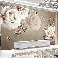 HGFHGD 3Dリビングルーム壁画レトロホワイトローズテレビ背景壁紙家の装飾壁紙ウォールステッカーウォールアート