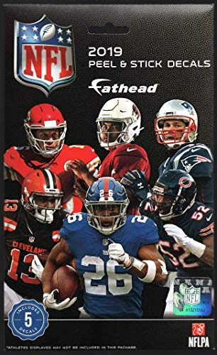 FATHEAD 2019 NFL Tradeables Sealed Unopened Pack Official Peel & Stick Decals - 5 NFL Players + Team Logo