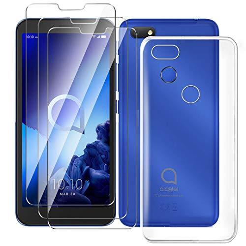 HYMY Hülle für Alcatel 1V 2019 Smartphone + 3 x Schutzfolie Panzerglas - Transparent Schutzhülle TPU Handytasche Tasche Durchsichtig Klar Silikon Hülle für Alcatel 1V 2019 (5.5