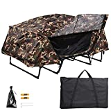 Yescom Double Tent Cot Folding Portable Waterproof Camping Hiking Bed for 2 Person, Camouflage with Rain Fly Bag