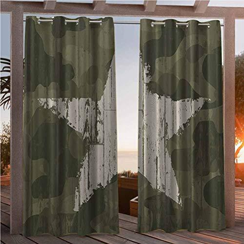 118'W by 95'L(K299cm x G241cm) Western Khaki Camouflage OutdoorPrivacy Drapes Decorative Sliding Door Curtain Southwestern Military Print Patriotic Star Khaki Cream Man Cave Wall Western Decor Gifts