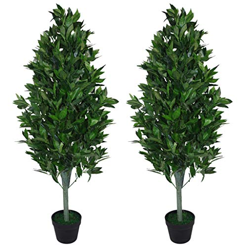 Leaf Design UK 120cm (4ft) Artificial Topiary Bay Tree Pyramid Extra Large Black Plastic Pot, Green...