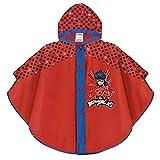 PERLETTI Mantella Pioggia Disney Miraculous - Poncho Impermeabile Ladybug da Bambina - Antipioggia con Cappuccio e Bottoni - Immagine Ladybug su Sfondo Rosso - Materiale Eva (Rosso a Pois, 3/6 Anni)