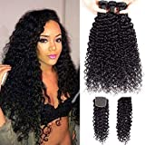 9A Brazilian Virgin Curly Wave Human Hair 3 Bundles with Lace Closure 100% Unprocessed Brazilian Jerry Curly Hair Weave Bundles with 4x4 Lace Closure Natural Black Color (22'24'26' with 20')