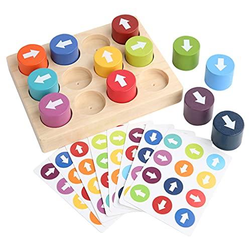 SunniMix Material Educativo Montessori Flecha de Madera emparejamiento Juego Rompecabezas Bloque reconocimiento de dirección Juguetes para niños Aprendizaje