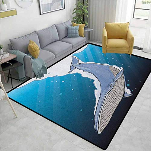 For Sale! Whale Paisley Customize Door Mats for Home Mat, Cartoon Whale Swimming Under Ocean with Fi...
