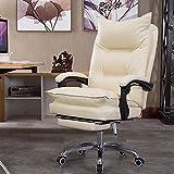 Silla Boss de cuero, silla giratoria de oficina de cuero PU con respaldo alto, sillas de escritorio ejecutivas ajustables ergonómicas con reposabrazos y reposapiés acolchados, ángulo de inclinaci