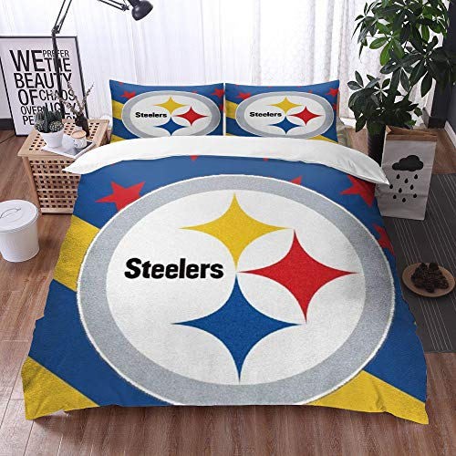 XiHi Duvet Cover Set, Bed Sheets, Rugby team Pittsburgh Steelers Solid color background Artistic creative theme,1 Duvet Cover Set 200 * 200 cm,+2 pillowcase 50x80cm