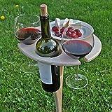 Zhantie Mesa de vino portátil al aire libre titular de madera mesa de picnic elegante mini mesa de picnic para fiesta al aire libre