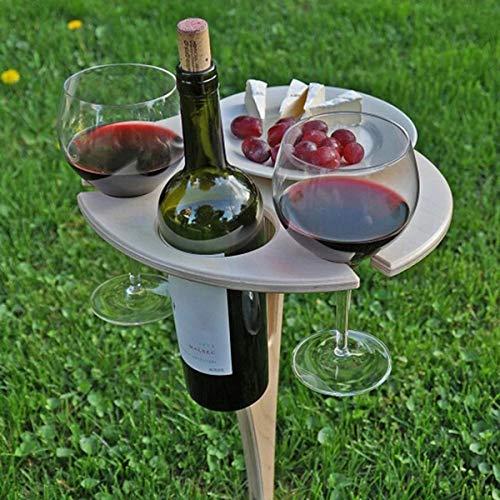 Ziao Mesa de vino portátil al aire libre de madera, mesa de picnic, elegante mini mesa de picnic para fiestas al aire libre