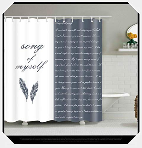 Chuanglanja douchegordijn, waterdicht, van polyester, waterdicht en schimmelbestendig, met letterprint, 180 x 180 cm, zwaar lood