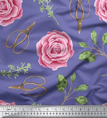Soimoi Violet Mousse Georgette en Tissu Ciseaux et Rose Floral Tissu Imprime par Metre 42 Pouce Large