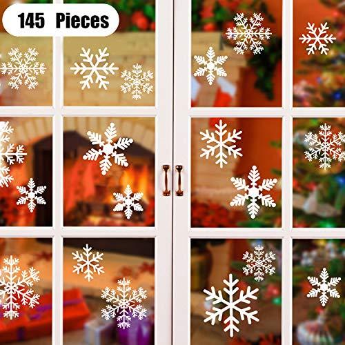 145 Fiocchi Di Neve Decorativi Natalizi Adesivi Per Finestre Decorazioni Natale Vetrofanie Della Natale Adesivi Casa Christmas Decor Wallpaper Rimovibile Adesivi Murali Fai Da Te Finestra Vetrina