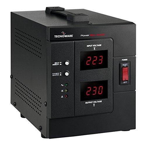 Tecnoware Power Reg - Stabilizzatore Elettronico Office Monofase - Stabilizzazione ± 8% - Ingresso Cavo con Spina SCHUKO, 2 Uscite (1 SCHUKO/ITALIA e 1 IEC) - Potenza 3000 VA