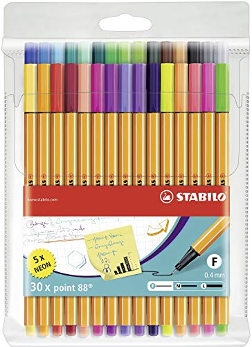 Point 88 Fineliner Pens 0.4m 30 color wallet set