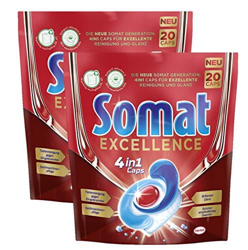 Somat Excellence 4in1 Caps, 40 (2 x 20) Caps, Spülmaschinen-Caps für exzellente Reinigung, brillanten Glanz und sorgfältige Pflege für Geschirr und Spülmaschine