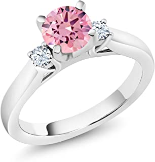 Gem Stone King 925 Sterling Silver Pink Zirconia and White Created Sapphire 3-Stone Engagement Ring 1.76 Ctw (Available 5,6,7,8,9)