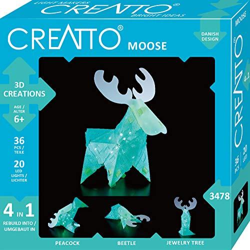 Kosmos 03478 Creatto Elch 3D-Leuchtfiguren entwerfen Bastel Set, für Elch, Pfau, Käfer oder Schmuckbaum, gestalte deine kreative Kinderzimmer-Deko, 36 Steckteile, 20-tlg. LED-Lichterkette, ab 6 Jahre