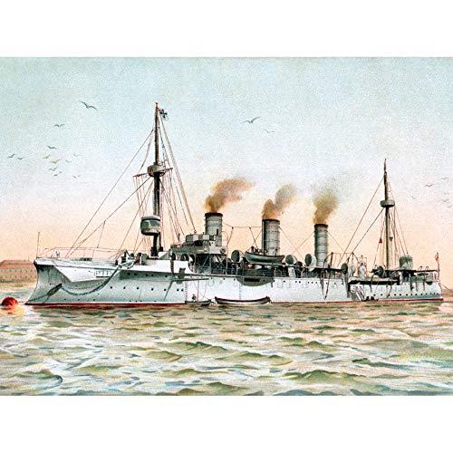 Graf German Small Cruiser Gefion Battleship 1902 Illustration murale sans cadre