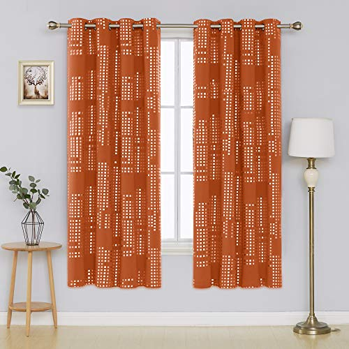Deconovo Blackout Curtain Room Darkening Thermal Insulated Draperies Grommet Window Treatments for Bedroom, 52x72 Inch, Orange