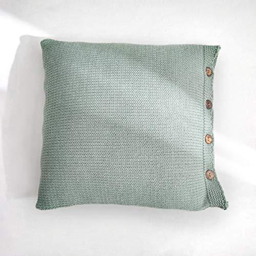 Tylyund Funda de cojín cuadrada decorativa funda de almohada nórdico simple simple tejido de madera botón manta cálida habitación ropa de cama primo