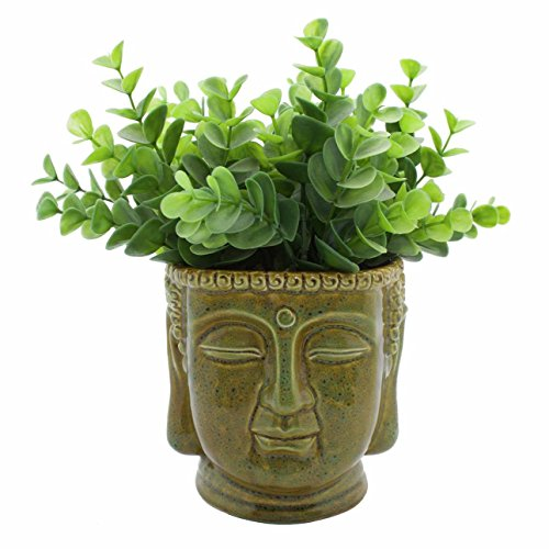 Streamline Buddha Head Ceramic Planter Pot/Colors May Vary