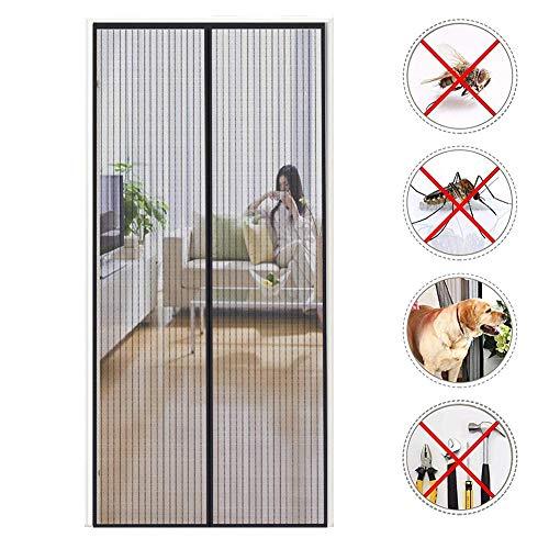 CHENG Magnet Fliegengitter Tür Terrassentür Insektenschutzrollo 110x235cm, Fenster Magnet Fliegenvorhang, Magnet Fliegenvorhang, faltbar, Luft kann frei strömen, für Flure/Türen - Schwarz