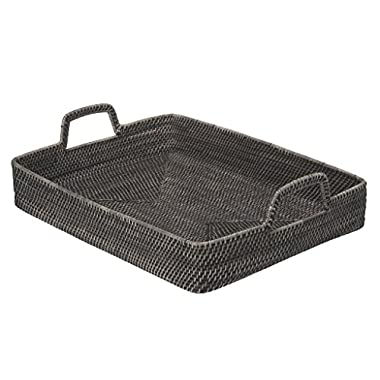 KOUBOO Rectangular High-Walled Serving Tray in Rattan, Black Wash