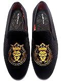 ELANROMAN Gold Loafers Men Vintage Velvet Bv Embroidery Noble Loafer Shoes Slip-on Loafer Smoking Slipper Loafers Black US 11 EUR 45 Feet Lenght 300mm