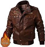 chaquetas de moto Chaqueta de motocicleta de cuero sintética de los hombres otoño e invierno chaqueta de cuero de piel de imitación en bicicleta puños acanalados fresco abrigo de estilo punk