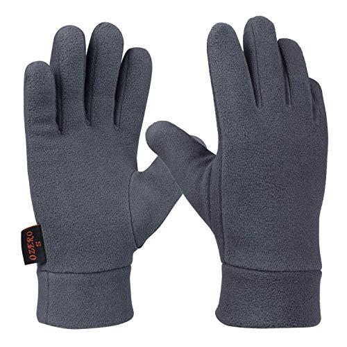 Ozero, guanti termici per uomo e donna, guanti invernali in pile per ciclismo, corsa e guida, grigio, M