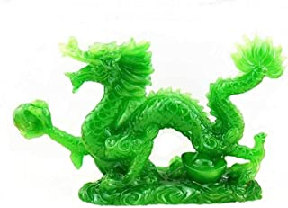 DMtse Chinese Feng Shui Dragon Lucky Jade Color Figurine Statue for Luck & Success 4 inch Long